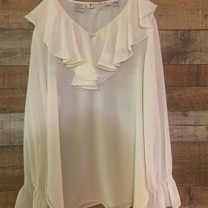 Chaus ruffle neck cream blouse shirt, size 16